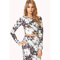 Crop Top Forever 21 C/ Estampa De Flores Saia N/ Incluido