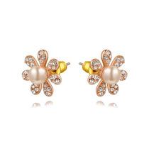 Aretes Oro Rosa Laminado 18k Perlas Cristales L01-066