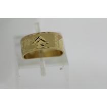 Aliança Escrava Com Desenho Egipicio Ouro 18k 750 Com 10mm