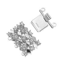 Sujetador Caja 3 Hilos C/cristales 21x16mm Chapado En Rodio