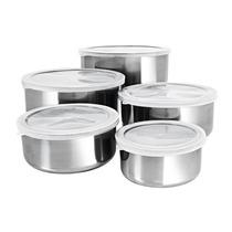 Conjunto De Tigelas Aço Inox Com Tampas 5 Peças Ze015-xc103
