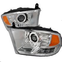 Faros De Lupa Halo Ccfl Cromados Para Dodge Ram 2009 - 2014