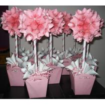 Topiario Flores De Papel Origami Centro De Mesa Artesanal