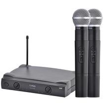 Microfone Sem Fio Duplo De Mão Tm559b Uhf Tag Sound