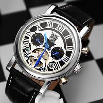 Relógio Luxo Automático Skeleton Turbilhão Jaragar Couro