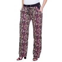 Calça Gestante Pijama Viscose Estampada Rosa
