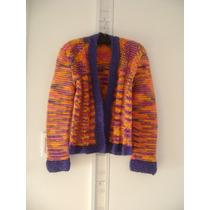 Saco De Lana C/fibra Multicolor - Artesanal -talle M - Nuevo