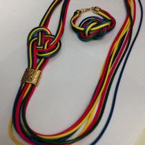 Conjunto De Collar Y Pulsera Artesanal, Multicolor.