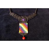Collar Whipala Macrame Con Piedras De Cuarzo Natural