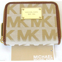 Cartera Mk Michael Kors Color Beige 100% Original