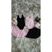 Collant Ballet Kit Saia Sapatilha Meia Calça Juvenil