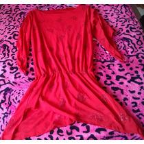 Blusa Linda Vermelha Com Pontas Com Brilhos Festa M