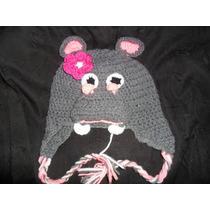 Gorro Tejido Al Crochet Hipopotamo De Invierno Infantil