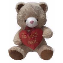Ursinho Pelúcia Coração Eu Amo Você Bege 40 Cm Namorados Rsp