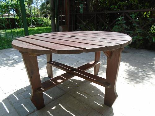 Mesa de jard n circular en madera ideal para juego for Muebles de jardin uruguay