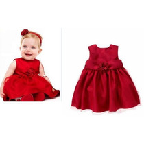 Vestido Vermelho Bebê Festa 2 Anos Tafetá De Cetim