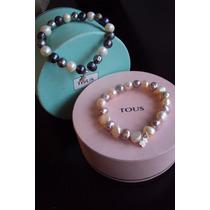 Preciosa Pulsera Pearls Con Osito Tous En Plata 925