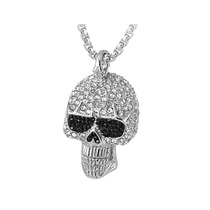 Collar C/dije Calavera David Sigal C/cristales Negro/blanco