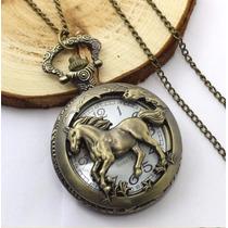 Relógio De Bolso Com Estampa De Cavalo