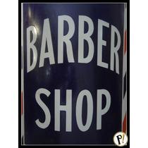 Antiga Placa Esmaltada Barber Shop Anos 40 Original Curva.