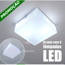 Kit 3x Plafons Led Acrílico 30x30 Luminária Com Lâmpada