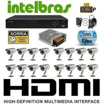Kit Cftv 16 Câmeras Com Dvr Intelbras Mod. Vd3116 16ch