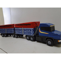 New Mini Scania Bitrem Lona Brinquedo Carreta Madeira 7eixo