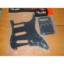 Escudo Fender Strato Preto Sss + Kit Fender Acessórios