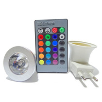 Lampada Led Colorida Com Controle Remoto E Adaptador Tomada