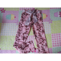 Calça Infantil Tamanho 10 Rosa Floral Impressinho