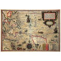 Lienzo Tela Mapa Océano Pacífico Sur Año 1592 50 X 71 Cm Mar