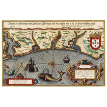 Lienzo Tela Mapa Costa De Portugal Año 1584 50 X 80 Cm