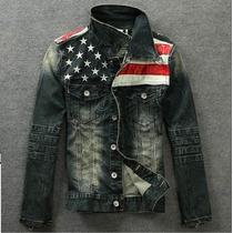 Jaqueta De Jeans Masculina American Flag - Importada