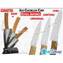 Juego Cuchillos Estilo Japonés Cerámicacon Bambú Chef Y Base