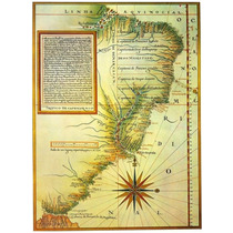 Lienzo Mapa Capitanías Sur América 1520 68 X 50 Cm Brasil