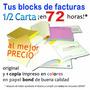 Facturas Seniat: 1 Facturero 1/2 Carta (original Y 1 Copia)