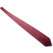 Gravata Italiana Em Seda Azul Com Detalhe Em Vermelho B0326