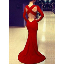 Vestido Largo Con Escote En Espalda Rojo, Azul Y Negro