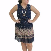 Vestido Feminino Estampado Florido Com Colar Tendencia Moda