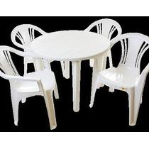 5 Jogos De Mesas Redonda Desmontável +20cadeiras De Plástico