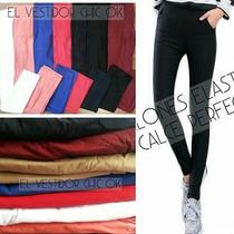 Pantalones Chupin Elastizados Oficina Importados Colores