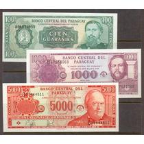 Colección De 3 Billetes De Paraguay