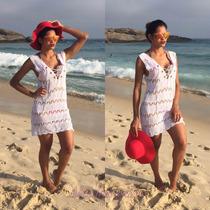 Vestido Saida Praia Tricot Amarração Verao Biquini Promoção