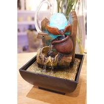 Fuente De Agua Con Caida Feng Shui Con Esfera Que Gira Luz