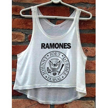 Blusa Ramones Feminina Cropped Cavada Nova Babylook Regata
