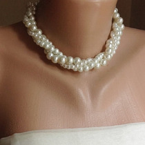 Collar De Perlas Autenticas Naturales 3 Hilos Plata .925