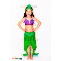 Fantasia Da Princesa Ariel Pequena Sereia Tamanhos 1a9 Anos