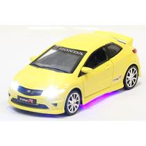 Miniatura Honda Civic Type R Amarelo Com Luz E Som