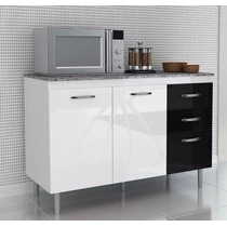 Balcão Gabinete Cozinha Branco E Preto Com 2 Portas