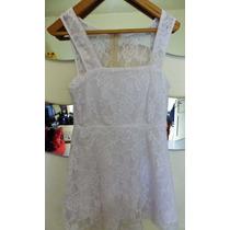 Vestido Corto Pollera Campana Mini Encaje Blanco+cinturon! S